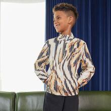 Conjunto chaqueta de rayas de tigre con cremallera con pantalones