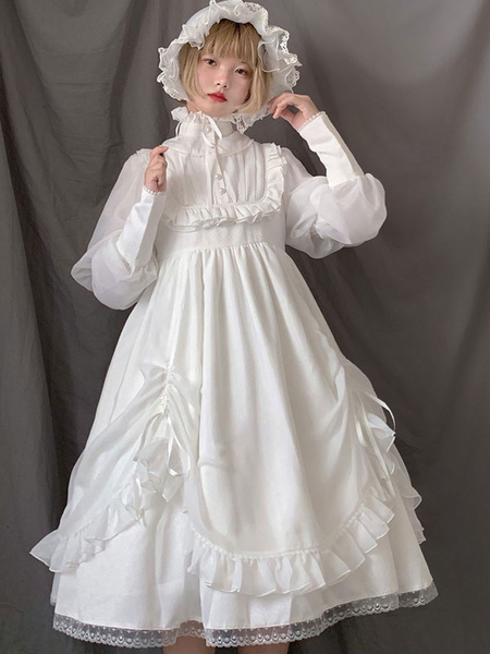 Milanoo Sweet Lolita OP Dress White Ruffles Gigot Sleeve Lolita One Piece Dresses