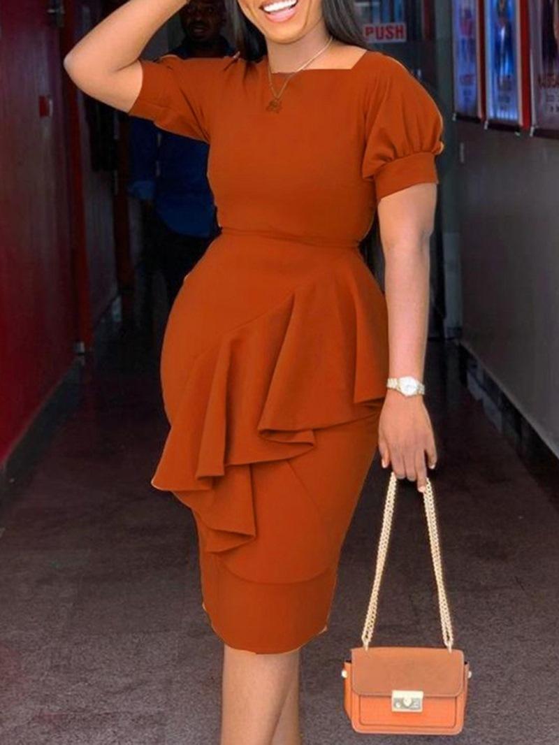 Ericdress Short Sleeve Stringy Selvedge Square Neck Plain High Waist Dress