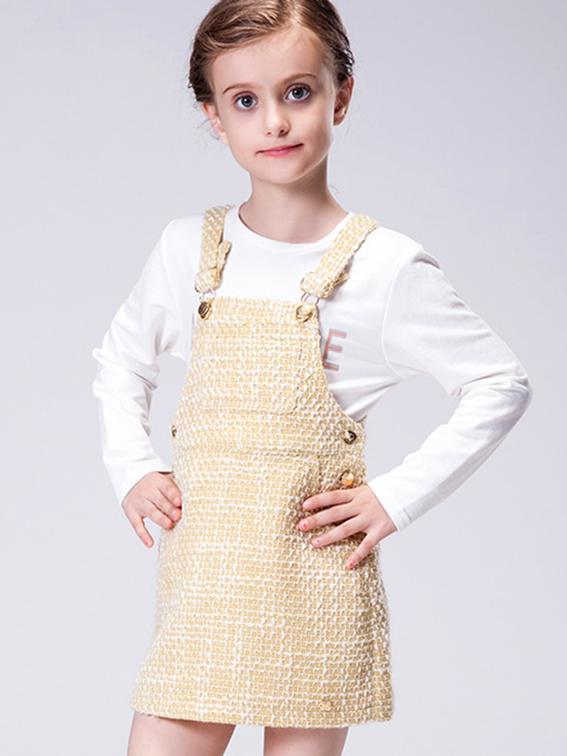 Ericdress Suspender Wave Strips Metal Button Girls Dress