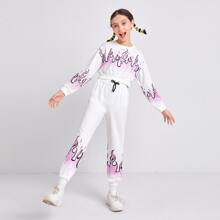 Girls Fire Print Crop Pullover & Drawstring Waist Sweatpants Set