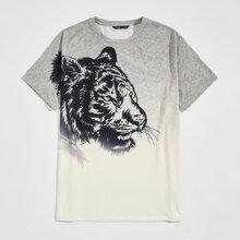 T-Shirt mit Tiger Muster und Farbverlauf