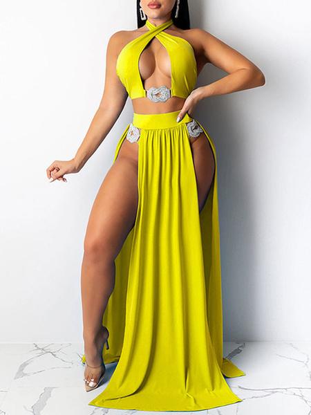 Milanoo Trajes de baño de dos piezas para mujeres Corte amarillo Cuello bateau Capas Cintura levantada Verano Sexy Trajes de 3 piezas