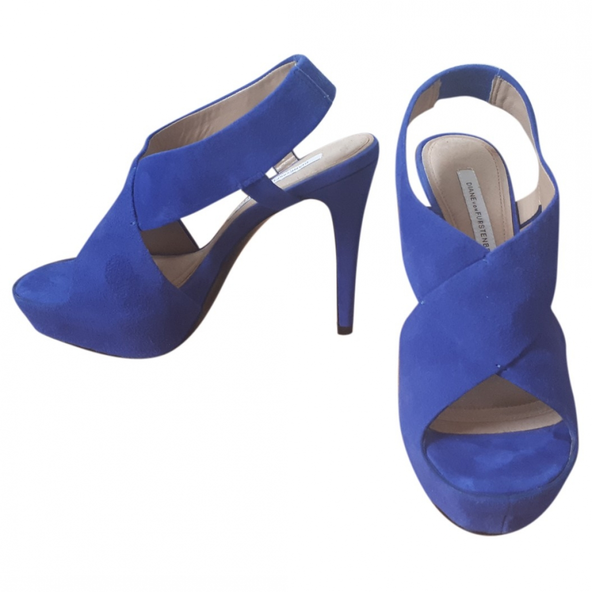 Diane Von Furstenberg - Sandales   pour femme en suede - bleu