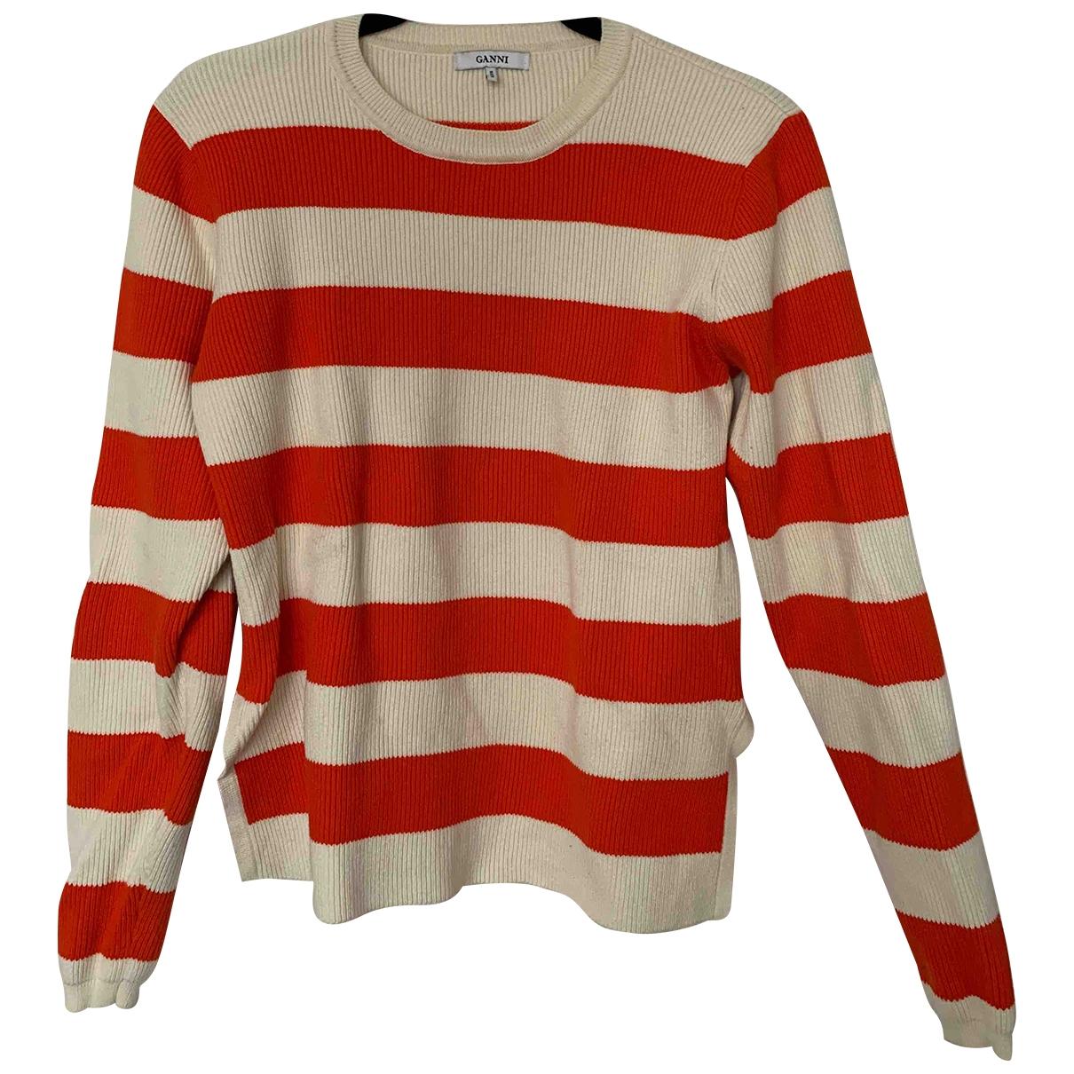 Ganni - Pull Spring Summer 2019 pour femme en coton - rouge
