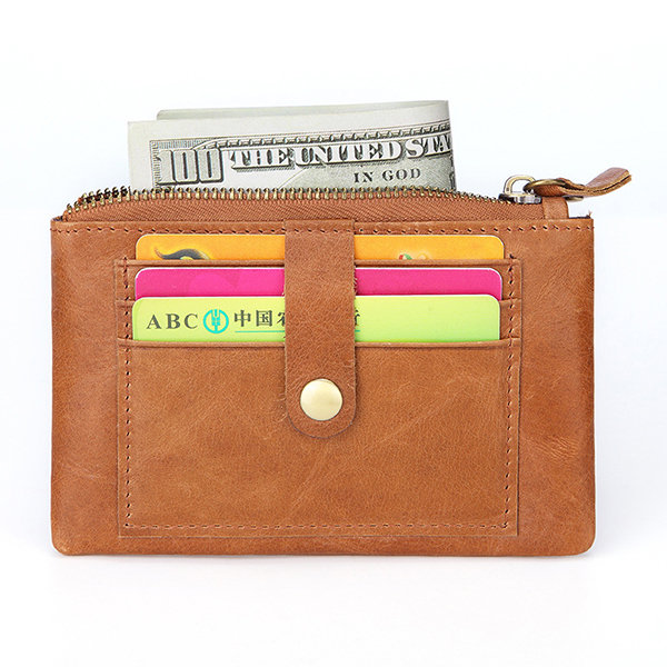 Men And Women Genuine Leather Slim Card Holder Retro Solid Key Holder