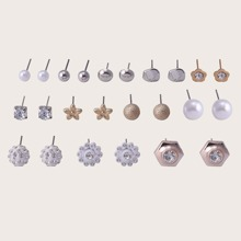 12pairs Rhinestone Decor Earrings