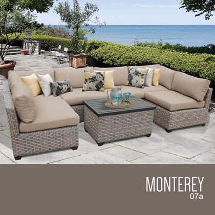 MONTEREY-07a-WHEAT Monterey 7 Piece Outdoor Wicker Patio Furniture Set 07a with 2 Covers: Beige and