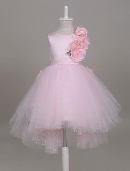 Milanoo Vestidos de niña de las flores Vestido de tutu rosado suave Vestido de fiesta corto de niños asimetrico