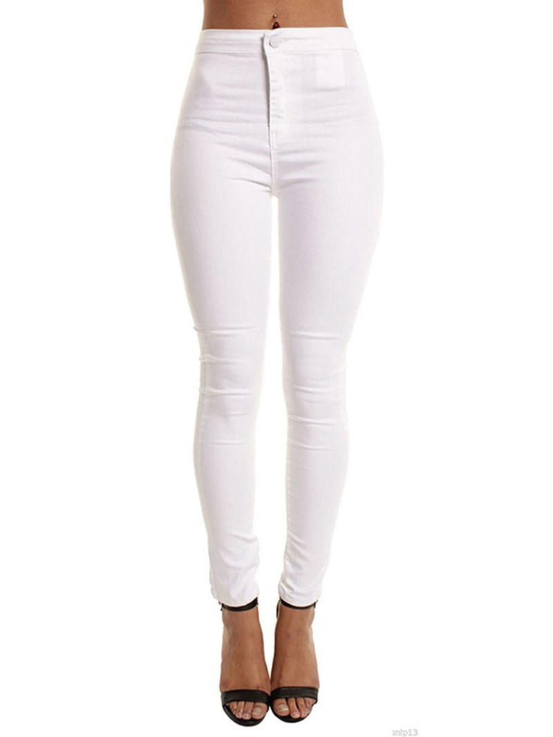 Ericdress Plain Slim Mid-Waist Women's Pants