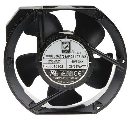RS PRO , 230 V ac, AC Axial Fan, 150 x 172 x 51mm, 383.9m³/h, 29W, IP55