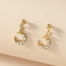Rhinestone Moon Drop Earrings