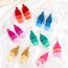6pairs Tiered Tassel Drop Earrings