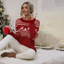 Pullover mit Weihnachten Muster und rundem Kragen