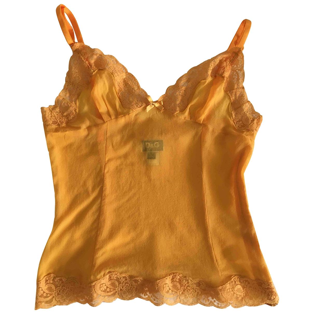 D&g - Top   pour femme en dentelle - jaune