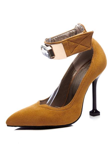 Milanoo Suede High Heels Women Pointed Toe Rhinestone Ankle Strap Pumps