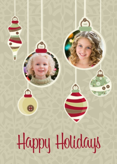 Christmas Photo Cards 5x7 Folded Cards, Premium Cardstock 120lb, Card & Stationery -Dangling Ornaments