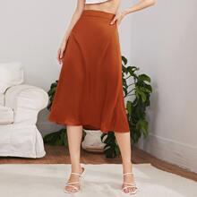 Solid Zip Side Longline Skirt