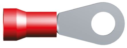TE Connectivity , PLASTI-GRIP Insulated Crimp Ring Terminal, M8 Stud Size, 6.6mm² to 10.5mm² Wire Size, Red (25)