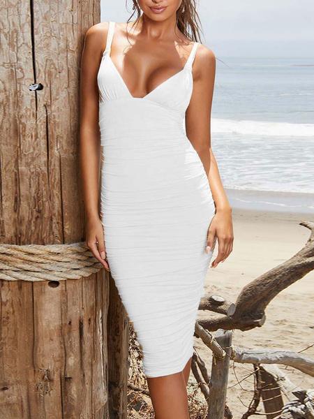 Milanoo Ruched Bodycon Dresses Sexy Sleeveless Sheath Dress