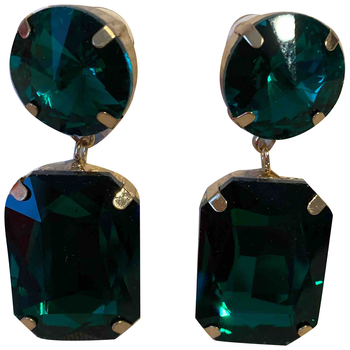 - Boucles doreilles Medailles pour femme en cristal - vert