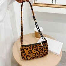 Chunky Chain Leopard Shoulder Bag