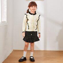 Conjunto jersey para niñita Volante A cuadros Preppy