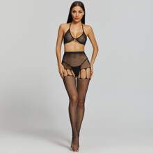 3pack Fishnet Rhinestone Lingerie Set & Cut-out Tights