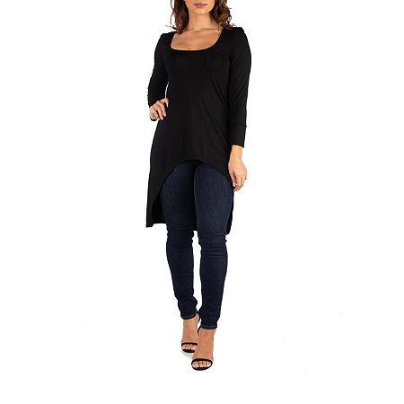 24/7 Comfort Apparel Womens Long Sleeve Hi Low Tunic Top, Medium , Black