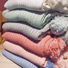 1pc Pom Pom Decor Blanket