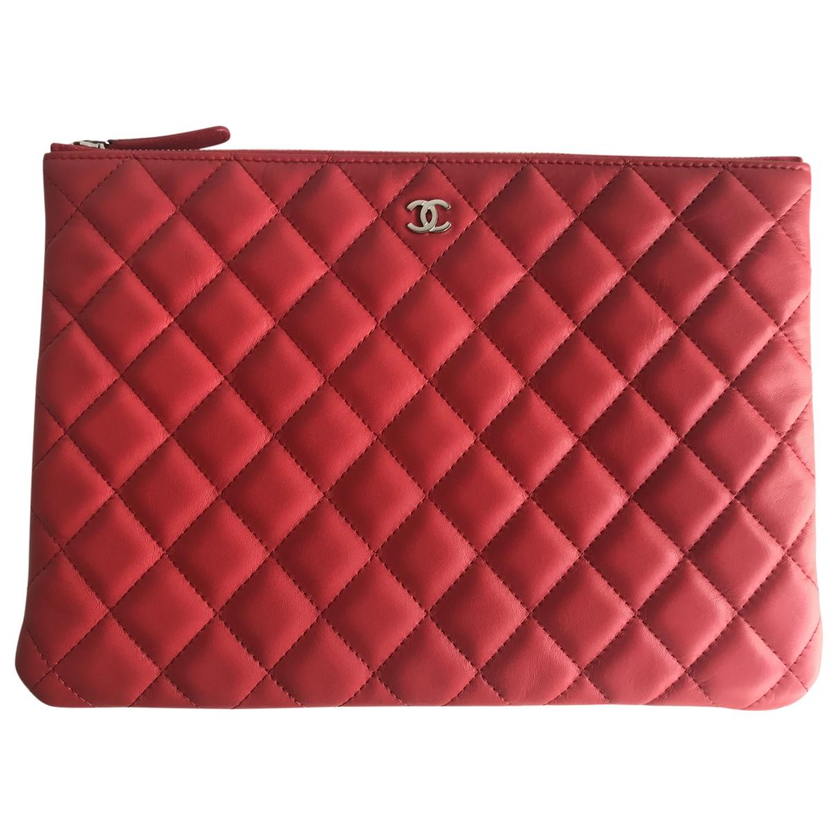 Chanel - Pochette Timeless/Classique pour femme en cuir - rouge