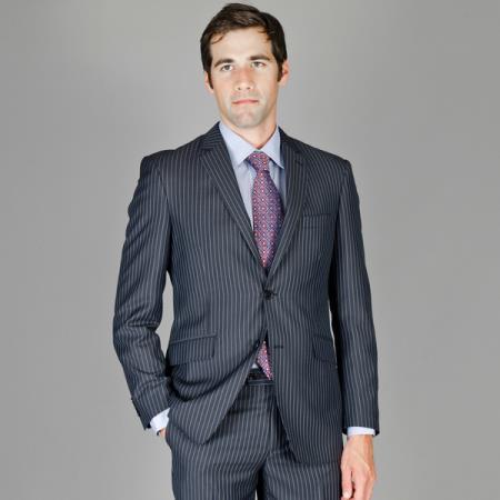 Mens Slim Fit Black Blue Stripe Wool and Silk Blend Suit