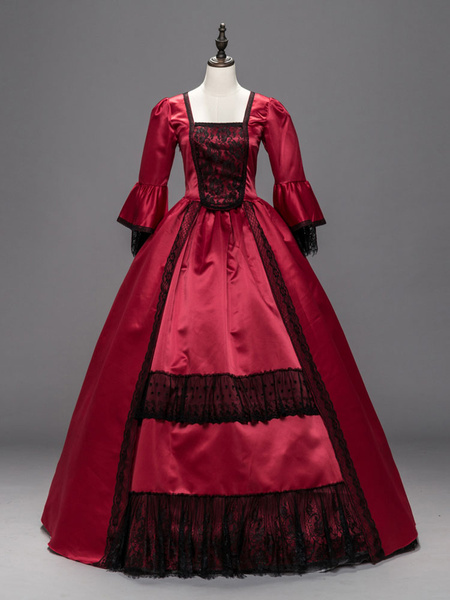 Milanoo Victorian Dress Costume Women's Red Costume Lace Patchwork Ruffles Half Sleeves Long Victorian era Outifts Party Dress Halloween