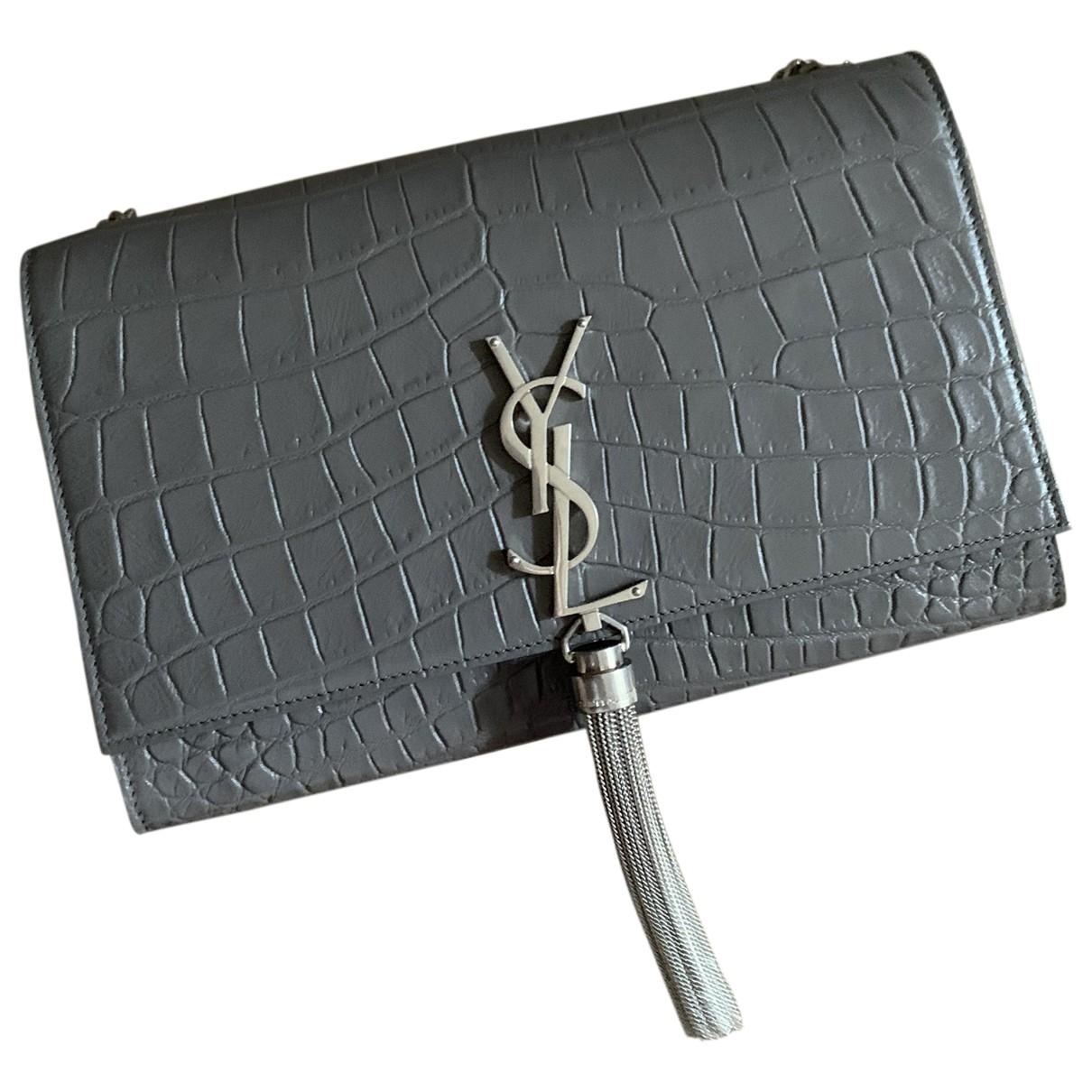 Saint Laurent Kate monogramme Grey Leather handbag for Women \N