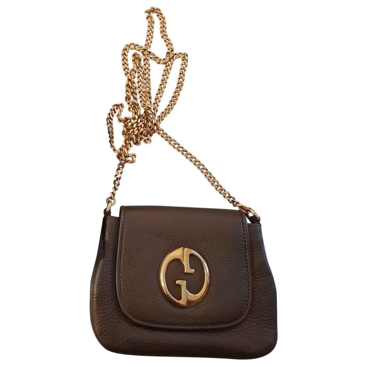 Gucci - Sac a main 1973 pour femme en cuir - marron