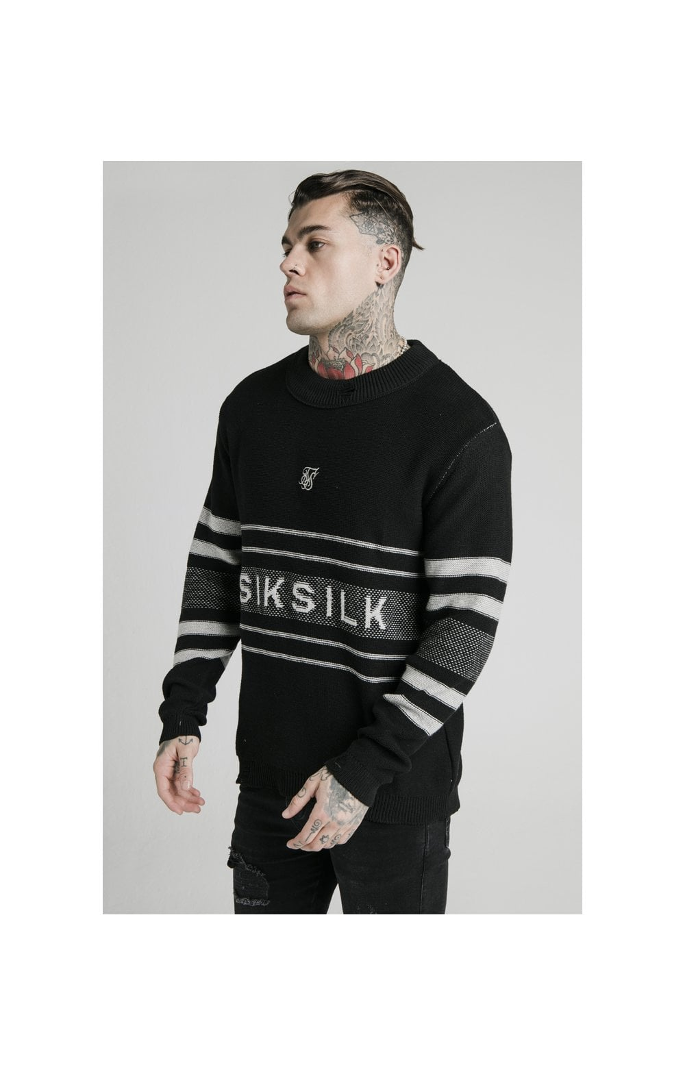 SikSilk L/S Knitted Funnel Sweater - Black MEN SIZES TOP: XXL