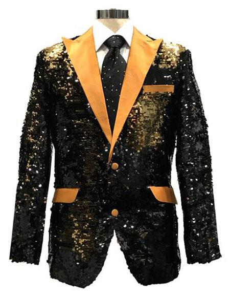 KDD342 Mens Reversible Sequin Black & Gold Blazer with gold Satin