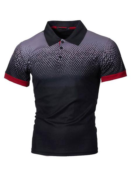 Milanoo Camisa de polo para hombre Cuello vuelto Botones de manga corta Camisas de polo de moda ajustadas de color naranja