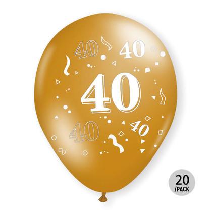 40th Birthday Metallic Balloons Gold Helium Quality 12