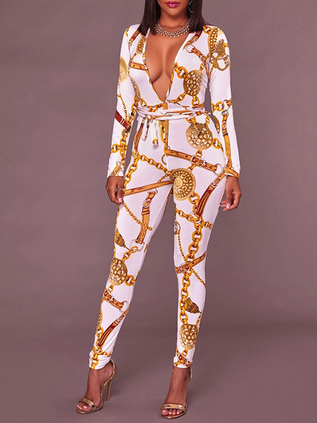 Milanoo White Printed Stretch Polyester Summer One Piece Jumpsuit