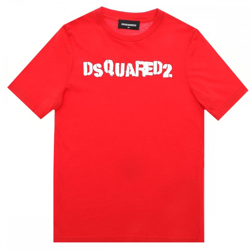 Dsquared2 Kids Cotton T-shirt Colour: RED, Size: 14 YEARS