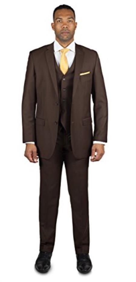 Mens Brown 2 Button Three Piece TR Blend Suit