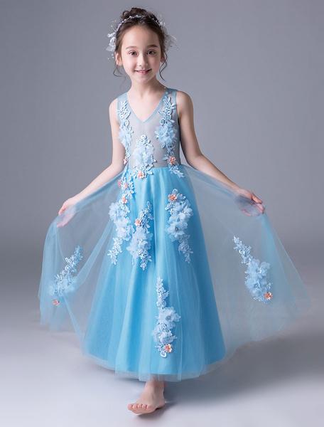 Milanoo Blue Flower Girl Dresses Lace Applique V Neck Floral A Line Kids Pageant Party Dresses With Jacket