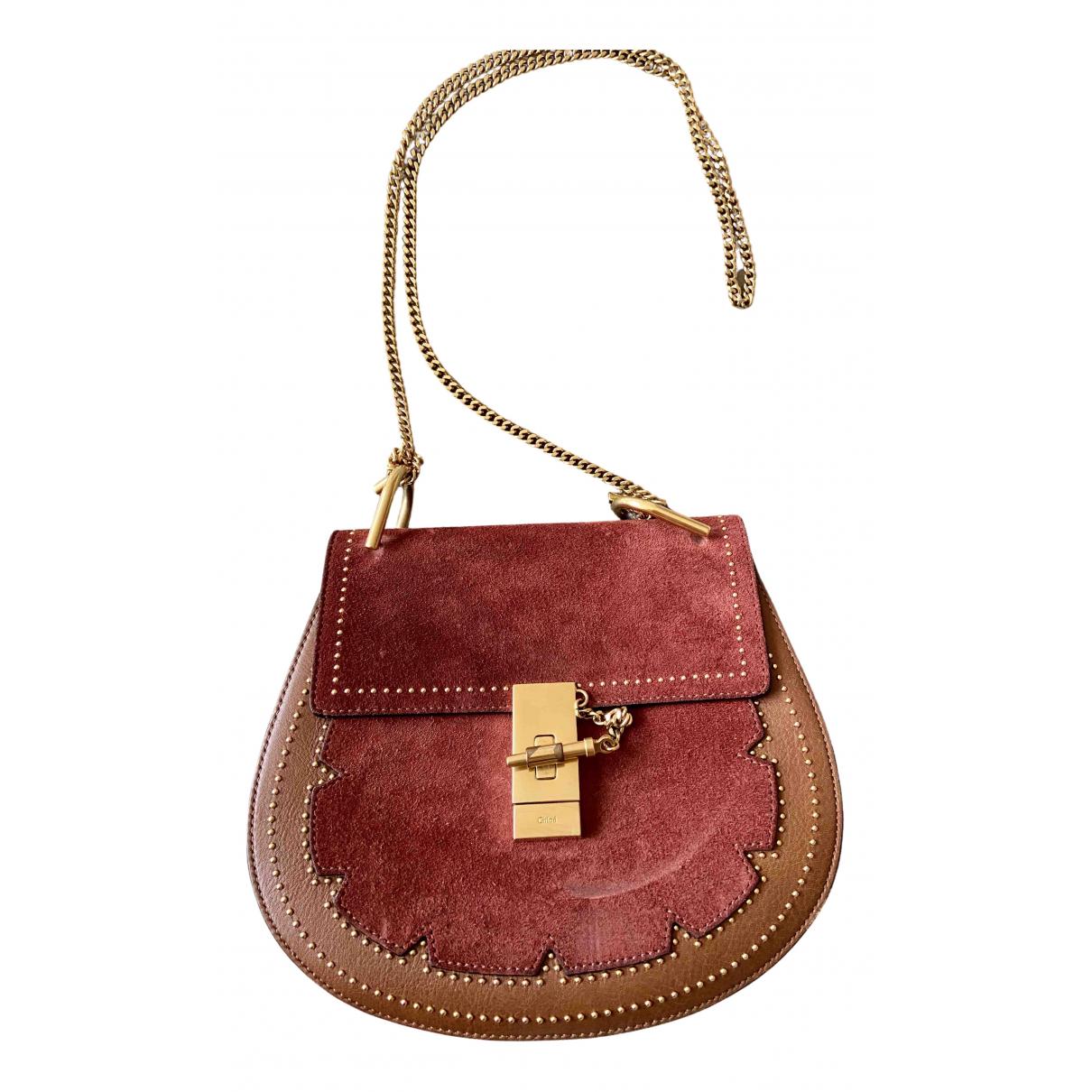 Chloe Drew Handtasche in  Rot Veloursleder