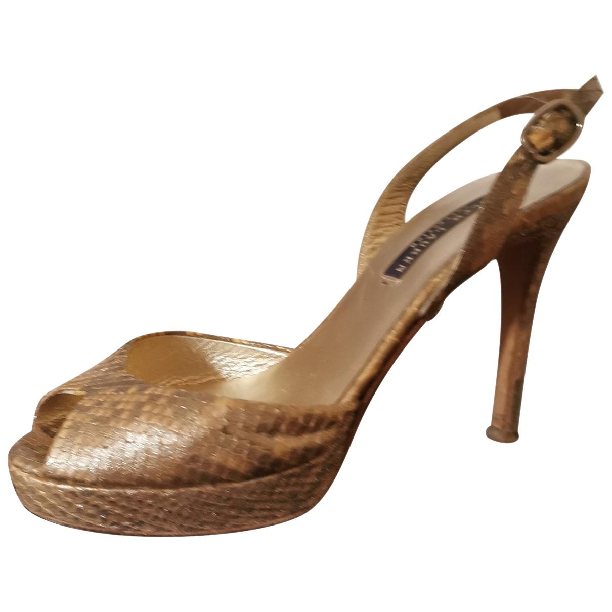 Ralph Lauren - Sandales   pour femme en python - dore