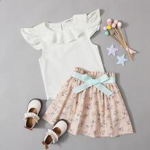 Girls Ruffle Trim Top & Paperbag Waist Belted Floral Skirt Set