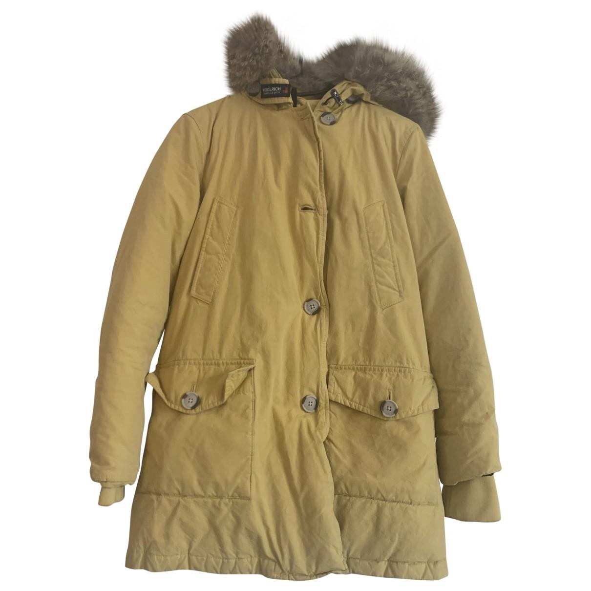 Woolrich - Manteau   pour femme en coton - jaune