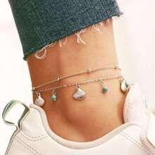 Shell Charm Chain Anklet Set 2pcs