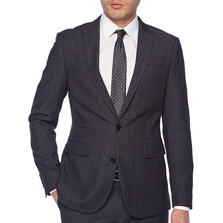 JF J.Ferrar Black Geo Birdseye Mens Dots Stretch Slim Fit Suit Jacket, 42 Short, Black