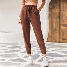 Drawstring Waist Slant Pocket Pants